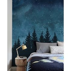 Costello Forest Trees Night Scene 4 Piece Panel Wall Mural Wallpaper for the wall design and ideas Wall Art Wallpaper, Mural Wall Art, Framed Wall Art, Painted Wall Murals, Tree Wall Murals, Bedroom Wallpaper, Tree Wallpaper, Nature Wallpaper, Painting Murals On Walls