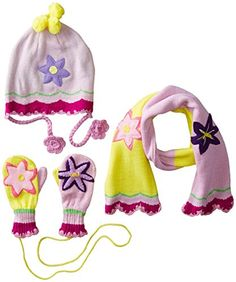 Kidorable Pink and Yellow Lotus Flower Soft Acrylic Knit Mittens for Girls