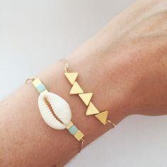 Bracelet Jonc CONSTANCE en plaqué or 14 carats (coquillage)