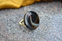 Black Onyx Stone Finger Ring Handmade Recycled by theELEPHANTpink, $19.50