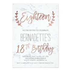 Rose Gold Typography Feathers Marble 18th Birthday Invitation