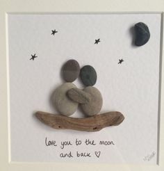 Couple pebble art love you to the moon and by MadeByMellyPebbleArt