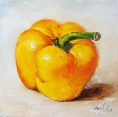 """""""Yellow Bell Pepper . Oil on canvas 6x6 inches"""" - Original Fine Art for Sale - © Nina R. Aide"""