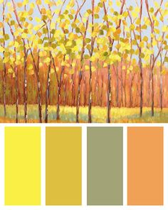 Yellow Color Palette Inspired By: Yellow and Green Trees (center), Art Print by Libby Smart