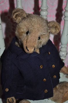 "12"" early teddy bear in great old wool sailor coat & cap"