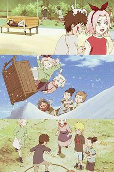 Naruto characters, young, childhood, Kiba, Akamaru, Sakura, Naruto, Shikamaru, Choji, Ino, funny, cute; Naruto