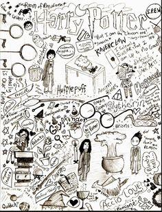 Potter Frenchy Party - Une fête chez Harry Potter: Harry Potter et les doodles… Harry Potter Drawings Easy, Harry Potter Sketch, Art Harry Potter, Harry Potter Quotes, Cadeau Harry Potter, Harry Potter Bricolage, Pages Doodle, Doodle Art, Garri Potter