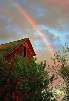 Rainbow over the barn