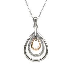 White Topaz tear drop Pendant #houseoflor #irishjewelry #irishgold #pendant #sterlingsilver #rosegold #whitetopaz