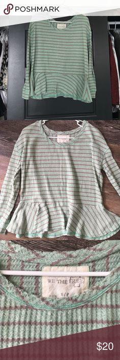 We the free thermal Adorable we the free thermal with peplum bottom. Mint green with grey stripe. Perfect condition Free People Tops Tees - Long Sleeve