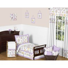 Sweet JoJo Designs 5pc Lavender Suzanna Toddler Bedding Set - Lavender, White, Grey, Yellow