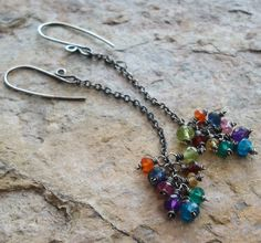 RAINBOW cluster of multi gems on long sterling silver chains, oxidized sterling silver