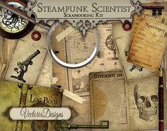 Steampunk Scientist Digital Scrapbooking Kit by VectoriaDesigns, $6.95
