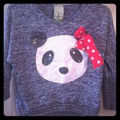 Girls sweater Girls blue sweater with sequin panda on front with poker dot now. Perfect with jeans or skirt. Sweaters