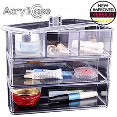 Clear Stackable Acrylic Jewelry Organizer Arranges Makeup and Accessories 3 Trays Cosmetic Storage Display Box By AcryliCase *** Learn more by visiting the image link.