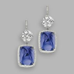 A selection of sapphire jewelry sold @ Sotheby's, Magnificent Jewels, New York - Eloge de l'Art par Alain Truong Pair of sapphire and diamond pendant-earrings. Photo Sotheby's  The sugarloaf cabochon sapphires weighing 27.91 and 24.48 carats, cushion-shaped diamonds weighing 4.02 and 3.36 carats, further set with round diamonds, mounted in platinum. Est. 150,000—200,000 USD - Lot Sold.  Hammer Price with Buyer's Premium:  182,500 USD