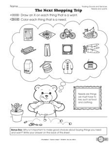 Wants and Needs: Charts, Games, and Printables | Top Teachers ...