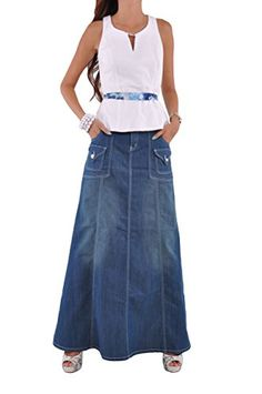 Style J Modest Chic Long Denim Skirt-Blue- Check back for my size