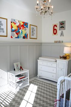 Grey diy moulding for playroom. Yes! Hides dirt and looks modern.