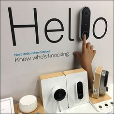 """""""Hello"""" is the large type introduction to this Nest Video-Doorbell Endcap Display. """"Know who's knocking"""" is the poignant subhead. Retail Fixtures, Pos Display, Alarm System, Nest, Cool Things To Buy, Apple, Nest Box, Cool Stuff To Buy, Apples"""