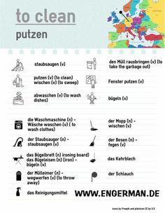 To clean Foreign Language Teaching, German Language Learning, Spanish Language, Dual Language, German Grammar, German Words, Deutsch Language, Study German, Teaching French