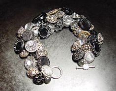 vintage moon and stars button bracelet