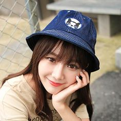908c08b02b3 Dog embroidered bucket hat casual style sun hats for girls UV package