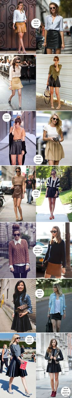 Look para inspirar, como usar, saia de couro, leather skirt, camisa, camiseta