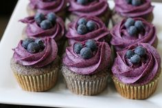 Blueberry+Cupcakes+with+Blueberry+Cream+Cheese+Frosting - Click image to find more Food & Drink Pinterest pins