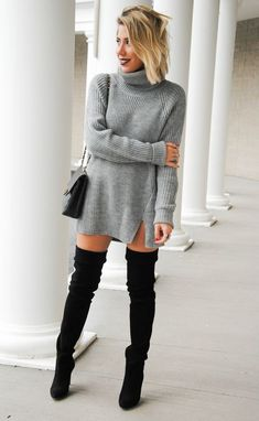 Wool Sweater Dresses #fall #fashion #winter #outfit #women