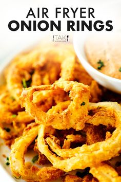 Air Fryer Onion Rings Recipe equipped with a crispy, crunchy, perfectly seasoned batter and sweet, tender onion on the inside! No grease, less fat, same great taste! These homemade onion rings are not only a healthier option for soothing those junk food cravings, but they make for the perfect party or game day appetizer! Serve them with your favorite dipping sauce and watch the crowd go wild! Game Day Appetizers, Best Appetizers, Appetizer Recipes, Homemade Onion Rings, Onion Rings Recipe, Side Dish Recipes, Healthy Dinner Recipes, Oven Recipes, Dip Recipes