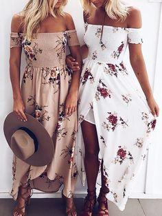 Trendy Off Shoulder Flower Print Slit Maxi Dress #maxidresses