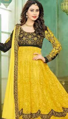 Bollywood Latest Yellow Nett Churidar Anarkali Suit, Dress