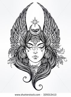 Hand drawn romantic beautiful artwork of Female diety with stars wings and moon. Alchemy, religion, spirituality, occultism, tattoo art.  Isolated vector illustration.