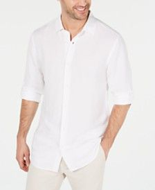 Alfani Men's Platoon Linen Shirt, Created for Macy's - Bright White Casual Button Down Shirts, Casual Shirts, Sports Shirts, Baby Clothes Shops, Polo Ralph Lauren, Men Casual, Mens Fashion, Mens Tops, Bright