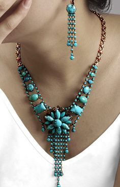 turquoise necklace and earrings.-- find hand made turquoise jewlery @ www.blucats.com