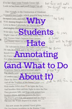 Why Students Hate Annotating (and What to Do About It) Teaching Literature, Teaching Writing, Teaching Strategies, Teaching Tips, Teaching English, Teaching Poetry, English Literature, Ela Classroom, English Classroom