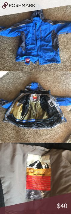 Bright blue ski jacket Polar Edge Gold Series snowboard and ski jacket in a bright blue. Tons of pockets, great condition with removable hood and vents. Used for 2 ski trips. Jackets & Coats Ski & Snowboard