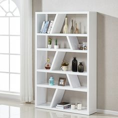 Helix contemporary bookcase or shelving unit in white high gloss, this bookcase will complement any surroundings in your home décor. - 31814 shelving units, wall mounted, home storage, modern & contemporary. White Shelving Unit, Wooden Shelving Units, Modern Shelving, Large Bookcase, Wooden Bookcase, Creative Bookshelves, Bookshelf Design, Glass Corner Shelves, Floating Shelves