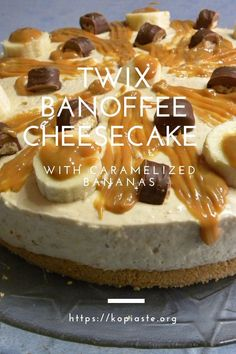This Banoffee Cheesecake recipe is made from fresh and caramelized bananas, boiled condensed milk cream and toffee. You might find this recipe a great competition against a Jamie Oliver Banoffee Cheesecake or a Nigella one! #twix #dulcedeleche #banoffee #cheesecake #caramelizedbananas Condensed Milk Cheesecake Recipes, Condensed Milk Cookies, Banoffee Cheesecake, Twix Chocolate, Delicious Desserts, Dessert Recipes, Caramelized Bananas, Types Of Desserts, Buttery Biscuits