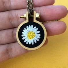 Items similar to Daisy Necklace- Hand Embroidery- Daisy Pendant- white daisy- hoop necklace- embroidered necklace- daisy gift- Mothers day gift- Gift for mom on Etsy - Stickerei Ideen Hand Embroidery Stitches, Embroidery Jewelry, Silk Ribbon Embroidery, Embroidery Kits, Cross Stitch Embroidery, Embroidery Designs, Hand Stitching, Knitting Stitches, Hungarian Embroidery