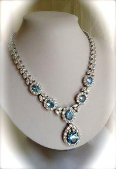 Vintage Plata Aguamarina y collar de la joyería de diamante inmobiliaria