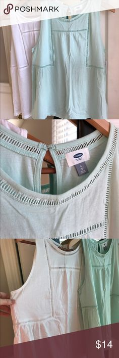 """Old Navy sleeveless tanks Mint and white available as a bundle, or I will separate if you prefer just one. Cotton, NWT, So pretty and feminine with eyelet holes continuing all the way around the back. Keyhole neck hook closure. 20 inches from """"pit to pit."""" Loose, boxy fit. Falls below hip, but not quite tunic length. Would look great with leggings or skinny capris. Prices always negotiable! Old Navy Tops Tunics"""