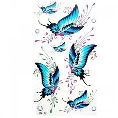 King Horse Waterproof temporary tattoos sexy blue butterfly