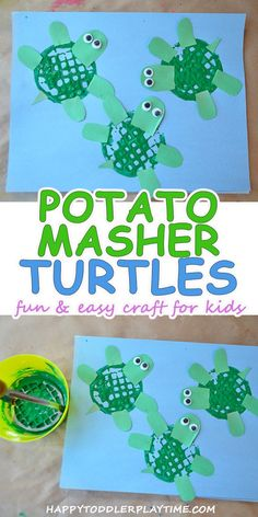 Potato Masher Turtle Craft Potato Masher Turtle Craft This Easy And Fun Potato Masher Turtle Craft Is The Perfect Summer Craft Activity For Home School Daycare Or Camp Summeractivities Kidsscraft Potato Masher Turtle Craft Happy Toddler Playtime Easy Crafts For Kids, Projects For Kids, Art For Kids, Crafts Toddlers, Summer Crafts For Toddlers, Toddler Arts And Crafts, Crafts With Toddlers, Infant Art Projects, Spring Toddler Crafts