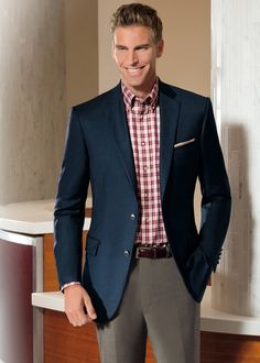 The wool navy blazer is good any season. The complementary colors are how one makes it a fall look.