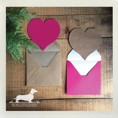 Heart shaped folded cards in pink and brown kraft!  Perfect for Valentines Day or just for an anyday love note.