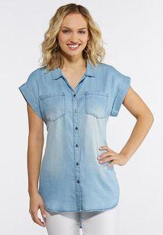 7a1ec86449 Cato Fashions Plus Size Button Down Chambray Shirt  CatoFashions