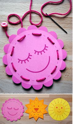 Attach a button to end of cord so it wont pull through.                                                 Kids Free Printable sewing cards. #free #printables #DIY