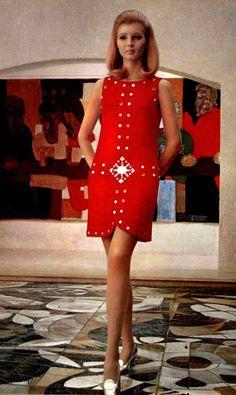 Vintage Dress by Louis Féraud, 1967 60s And 70s Fashion, Mod Fashion, Fashion Show, Vintage Fashion, Womens Fashion, Moda Retro, Moda Vintage, Style Année 60, Moda Hippie